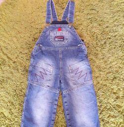 Комбинезон джинсовый на флисер. 92-98