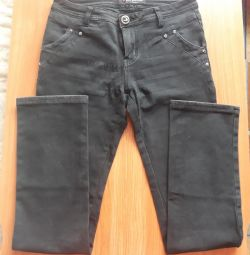 Jeans are dark gray, size 27