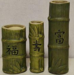 Vas de sticlă de ceramică de bambus 3 buc