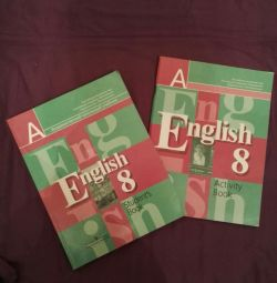 İngilizce ders kitabı + not defteri.