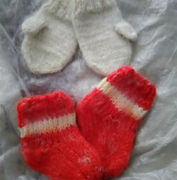 Set of socks + mittens up to 1-1.5