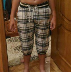 Παντελόνια με πλεκτά ένθετα