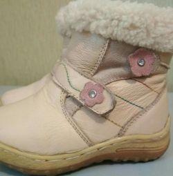 Кожаные зимние ботинки_23 р.