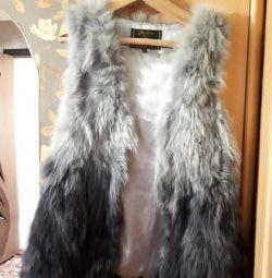 Fur sleeveless tank top