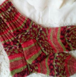 Female socks. Manual knitting.
