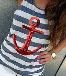T-shirt with a red anchor, new