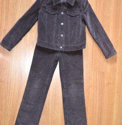 Costum corduroy pentru copii, 128 cm