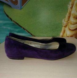 Pantofi de balet natural din velur