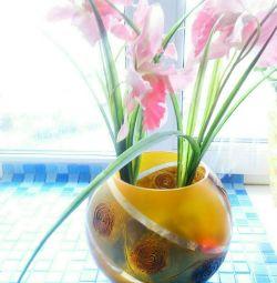 Стильная ваза-шар(толстое,цв.стеко)ЧЕХИЯ