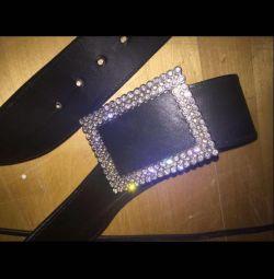 Belt genuine leather rhinestones Roberto Cavalli