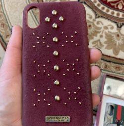 Acoperă pentru iPhone. Piele naturala, silicon