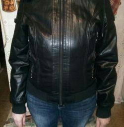 Eco-δερμάτινο μπουφάν 46-48 σε γούνα