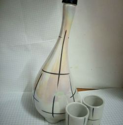 Decanter with 2 glasses, vintage, 60s USSR.