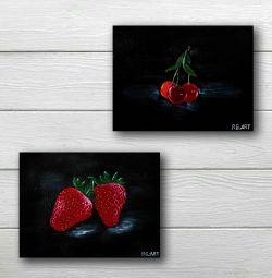 Λάδι ζωγραφική νεκρή φύση μούρα φράουλες κεράσι