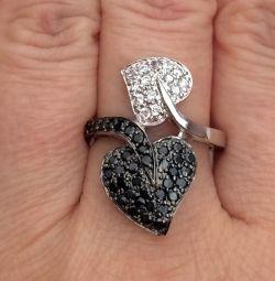 Inel argint 925 cu zirconii cubice albe și negre