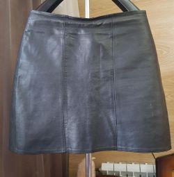 Genuine leather skirt 42-44
