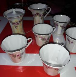 сервиз чайный кофейный фарфоровый чашки набор