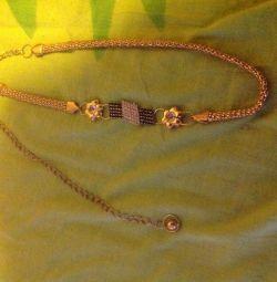 Metal belt with rhinestones