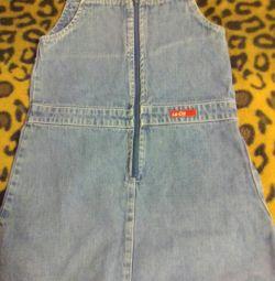 Jeans sarofan pentru 3-4 ani