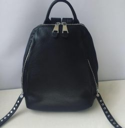 White Pearl Genuine Leather Backpack New