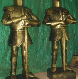 Sculptures of medieval knights