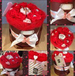Buchet Cadou Kinder Bomboane Flori Trandafiri Hat Co
