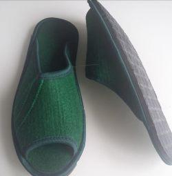 Papuci de pâslă verde