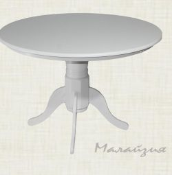 Dining table. Leg from the massif white