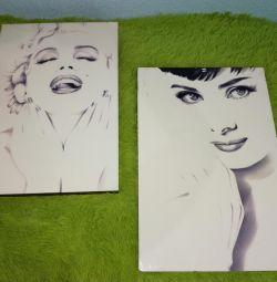 2 resim posteri Marilyn Monroe ve Audrey Hepburn