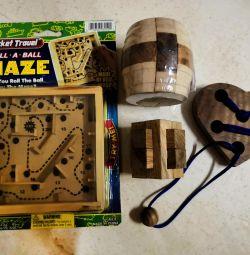 Головоломки 4 штуки деревянные