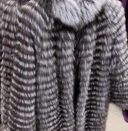 Новое меховой Пальто Чернобурка
