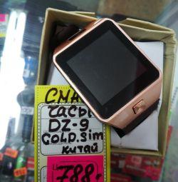 Νέο έξυπνο dz9 ρολόι χρυσού με simka