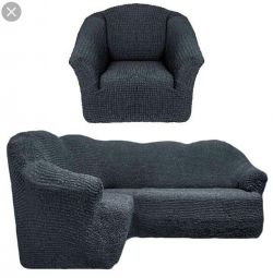 Capac universal pe canapeaua și scaunul din colț