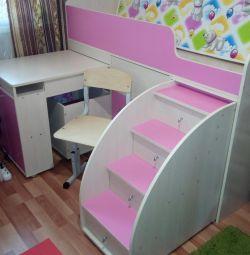 Κρεβατοκάμαρα κρεβατιού + στρώμα + καρέκλα