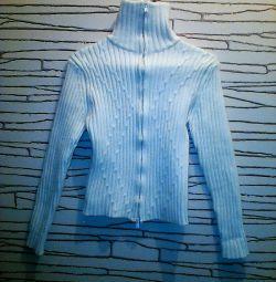 Γυναικείο μάλλινο πουλόβερ με φερμουάρ