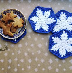 Stand for hot \ mug Snowflake in blue.