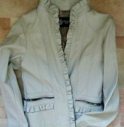 Ceket yeni bir deridir. Bir fermuar ile Zam r 42-44 renk gri