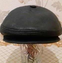 winter cap made of genuine leather