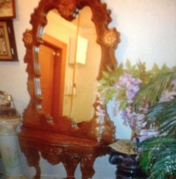 Consola cu oglinda, lemn natural, bronz