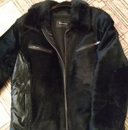 Кожаная зимняя куртка с норкой