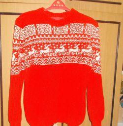 pulover, cu cerb, jacheta, rosu,