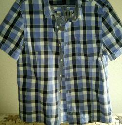 Рубашка мужская с коротким рукавом р.48