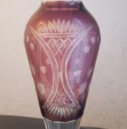 Vase manganese glass diamond facet USSR