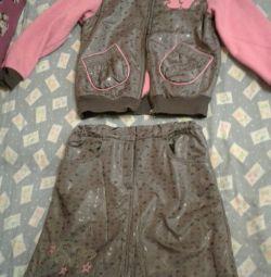 Ветровка и юбка на девочку 7-8 лет