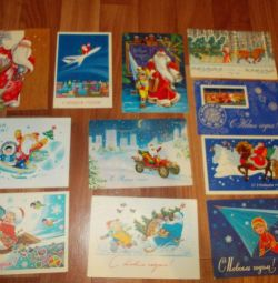 Postcards of the USSR Happy New Year signed and clean