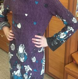 Dress for girls natural wool for 7-12 years