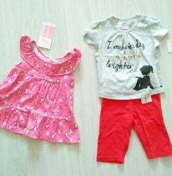 Kızlar için 6-18 aylık yeni kıyafet takımları