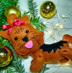 Christmas toys made of felt, york dogs and shih tzu