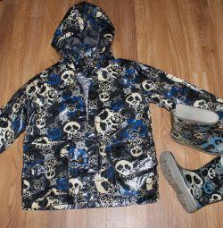 непромокаючий куртка + гумові чоботи