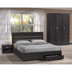 Κρεβάτι Gallery με 2 Συρτάρια σε Zebrano 150x200
